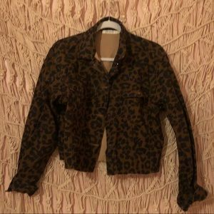 NASTY GAL Cheetah Cropped Jean Jacket